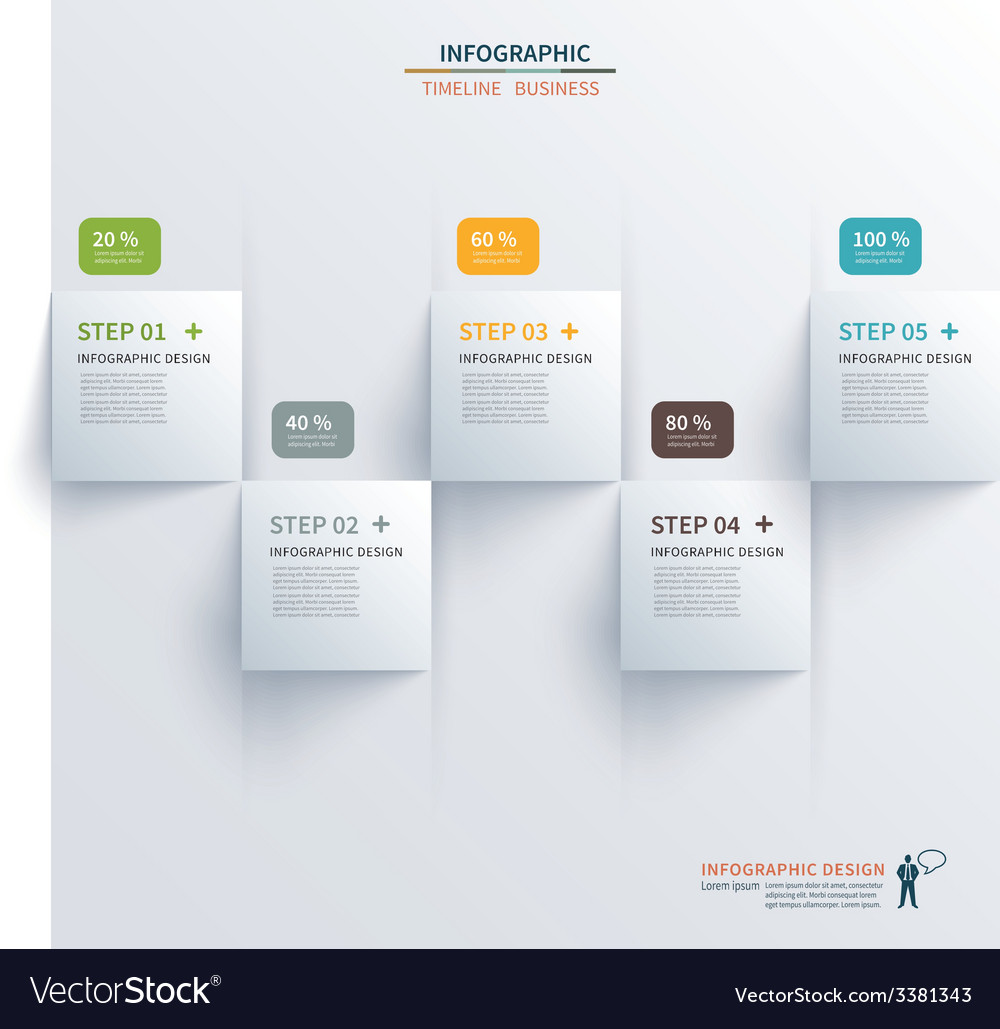 Paper square timeline infographic vector image