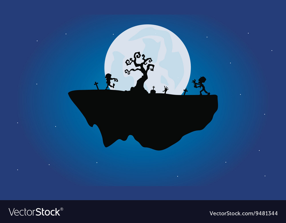 Halloween zombie and dry tree silhouette vector image