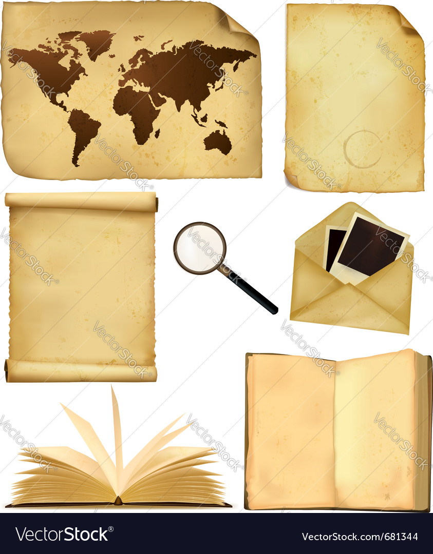 Set of old paper sheets and old map vector image