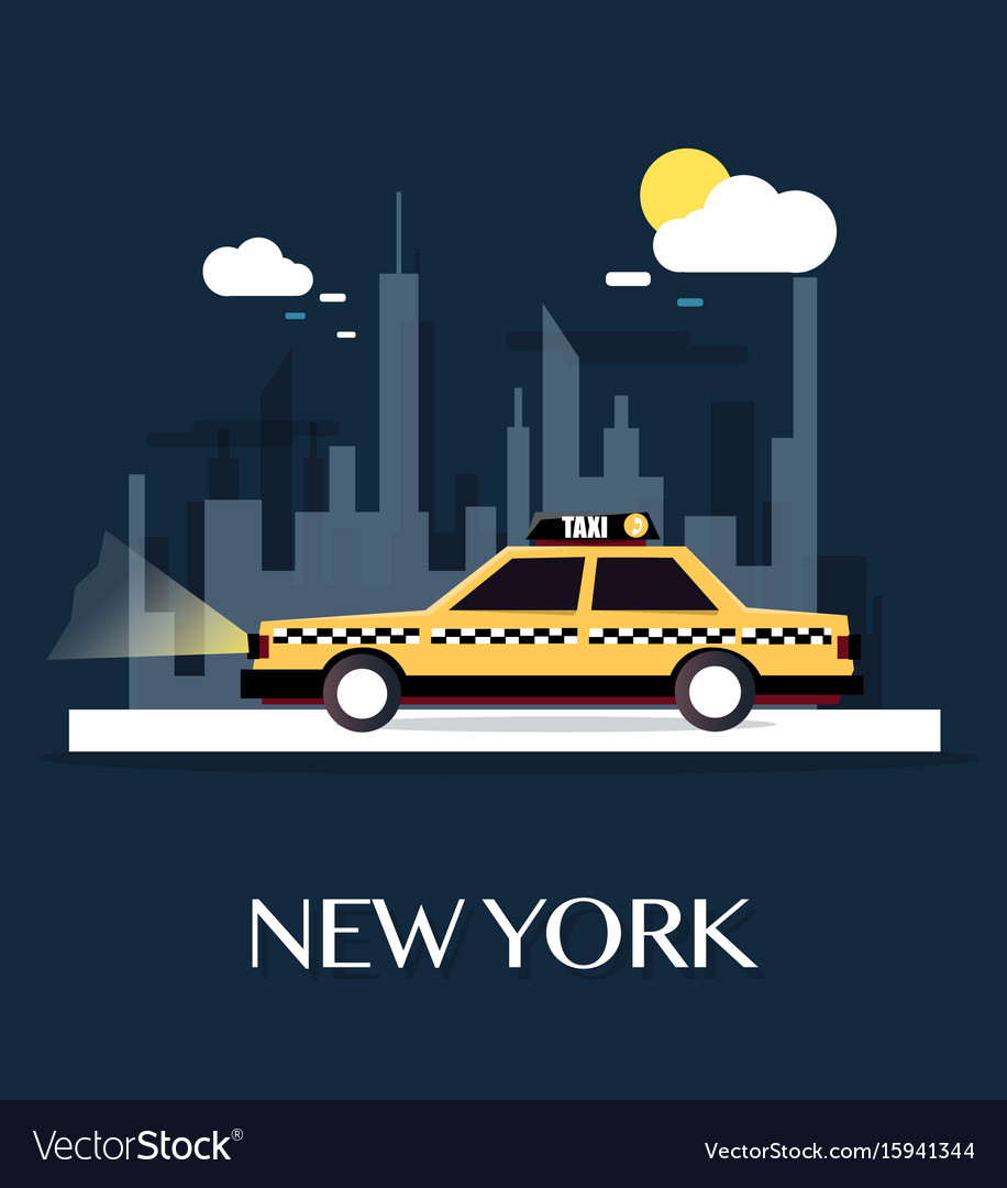 Taxi car with new york city vector image