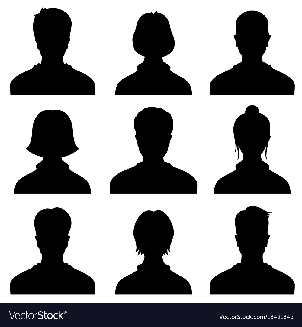 Male and female head silhouettes avatar profile vector image