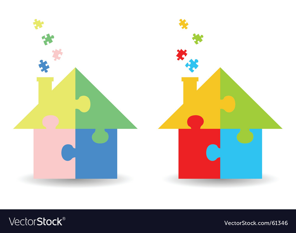 Jigsaw puzzle houses vector image