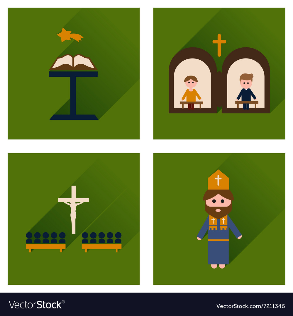 Concept of flat icons with long shadow