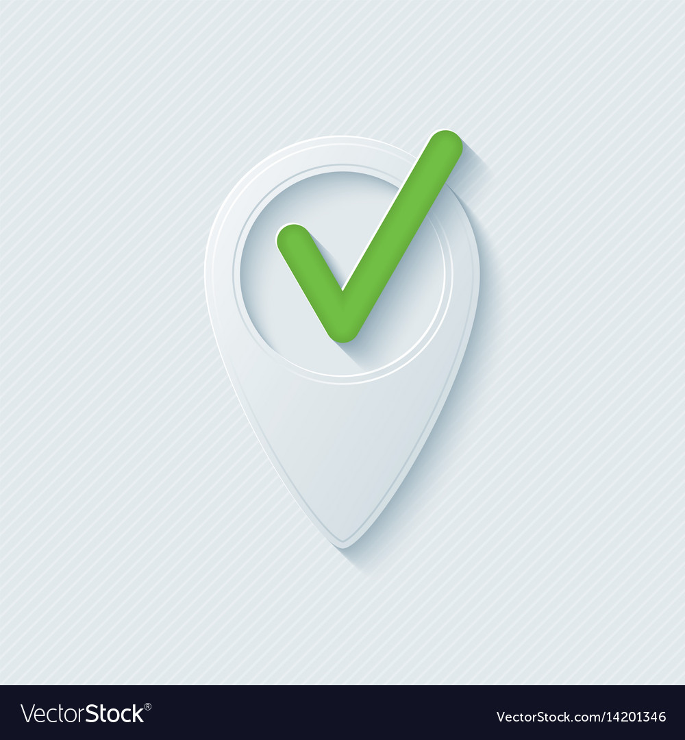 Map pointer with check mark vector image