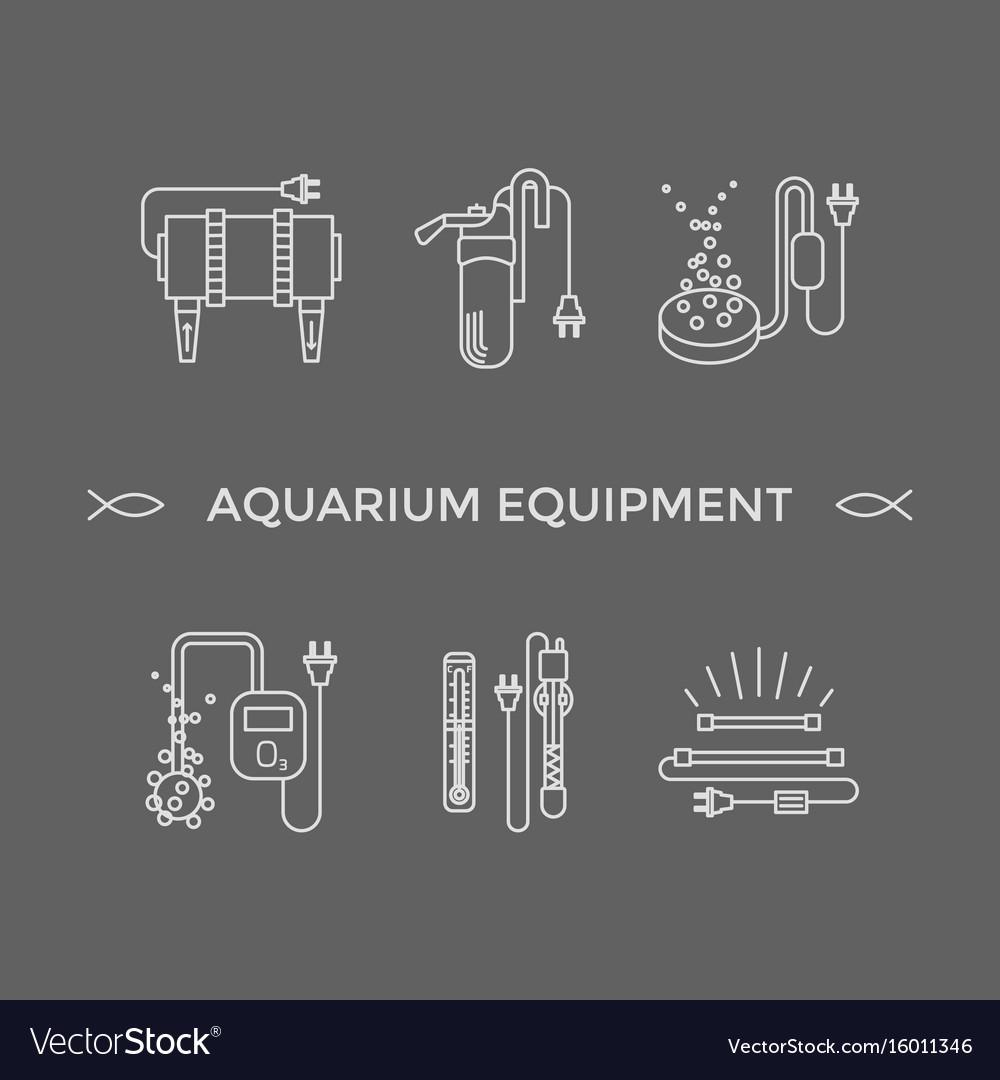 Thin line icons - aquarium equipment vector image
