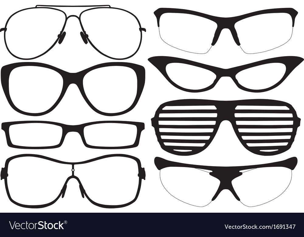 Glasses silhouette vector image