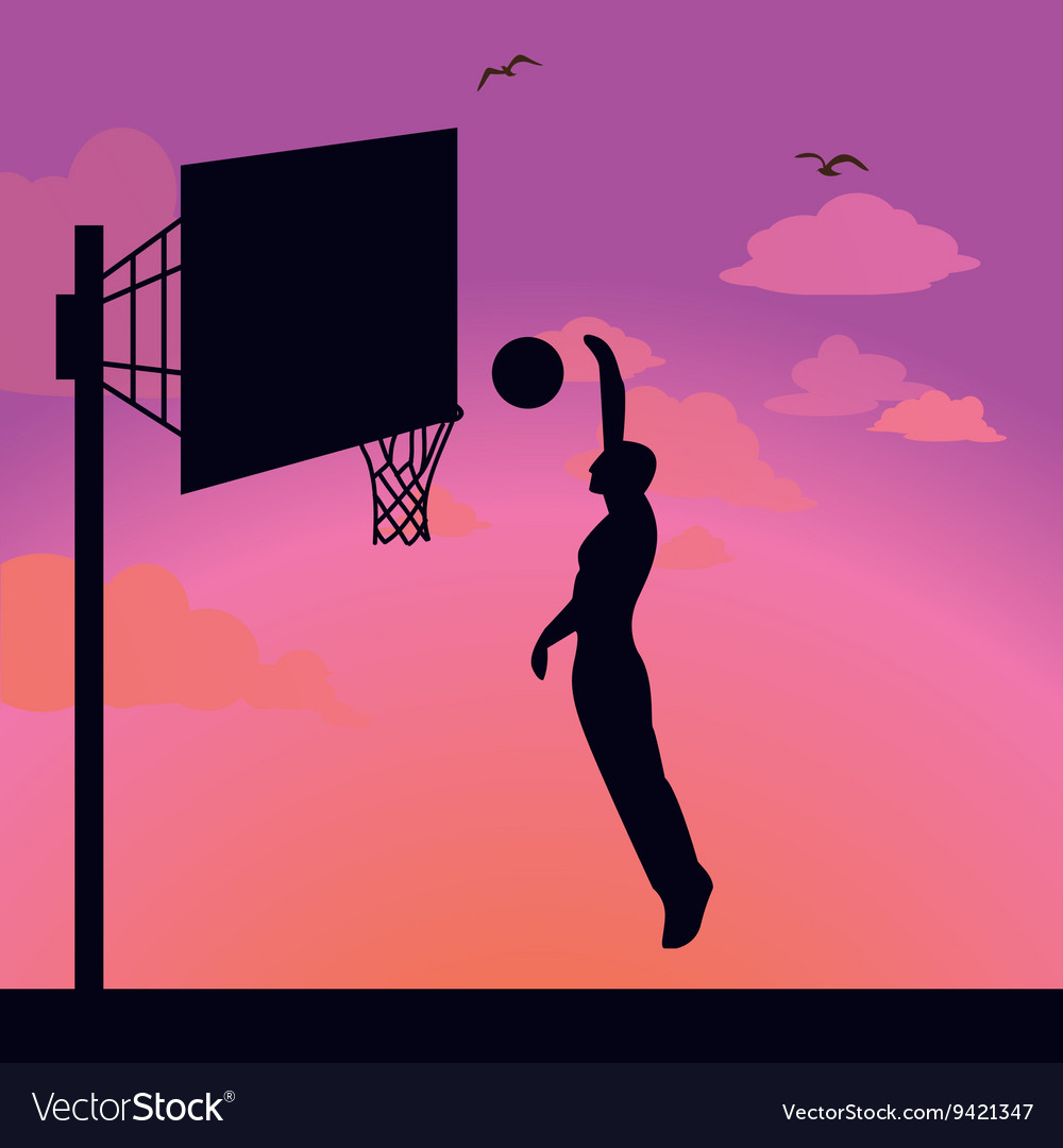 Silhouette man athlete player jump action basket vector image