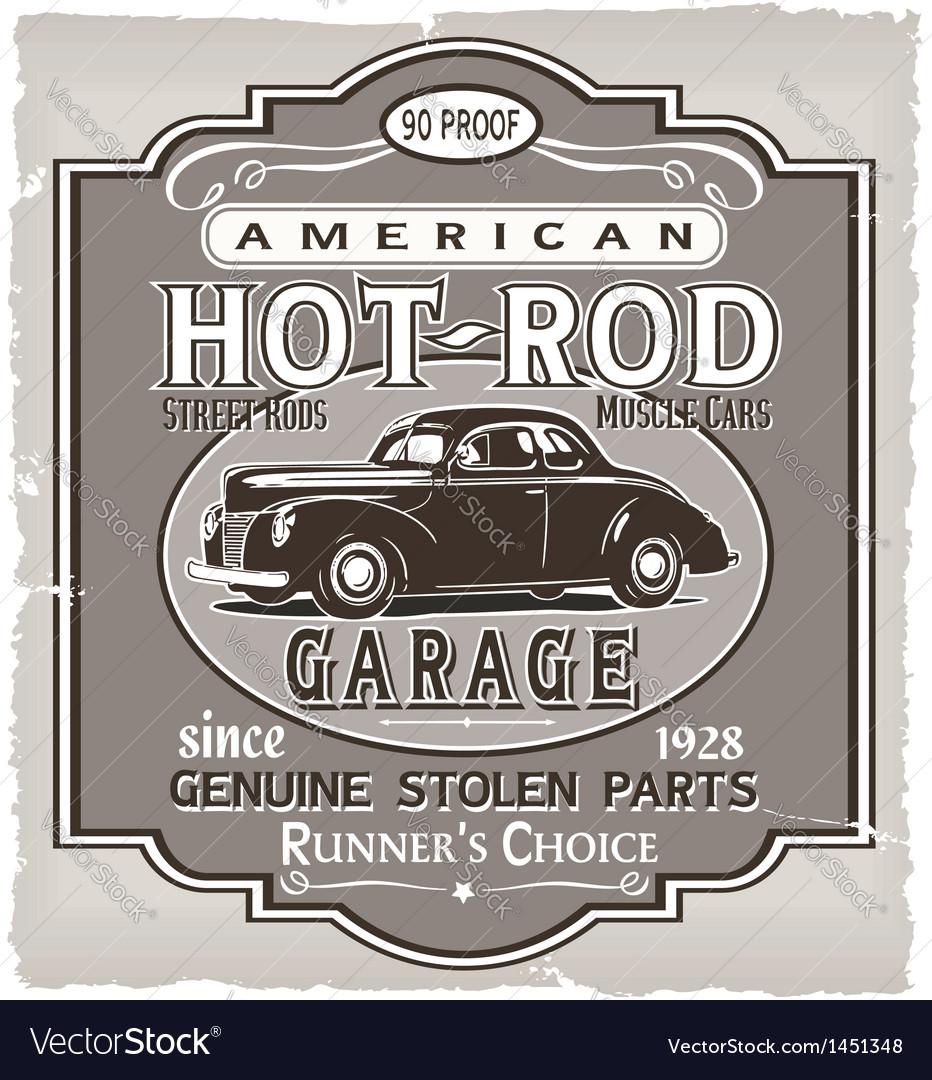 Hotrod Runner garage Vector Image