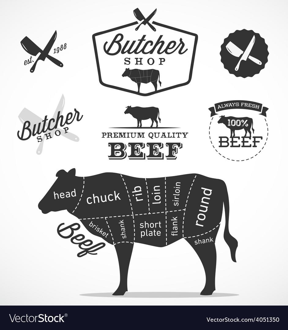 Beef cuts diagram and butchery design elements vector image beef cuts diagram and butchery design elements vector image pooptronica