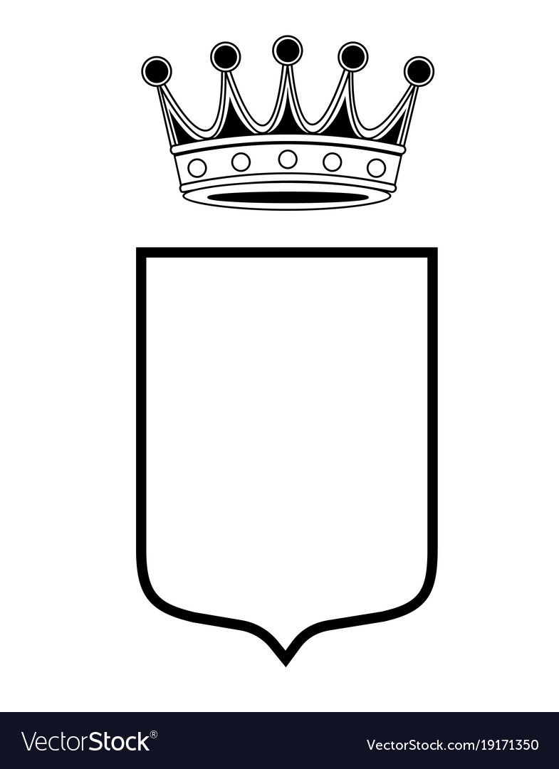 Family shield template with crown Royalty Free Vector Image