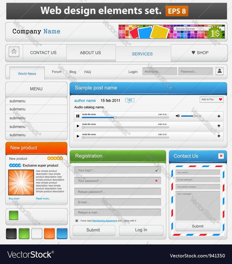 Web design elements set vector image