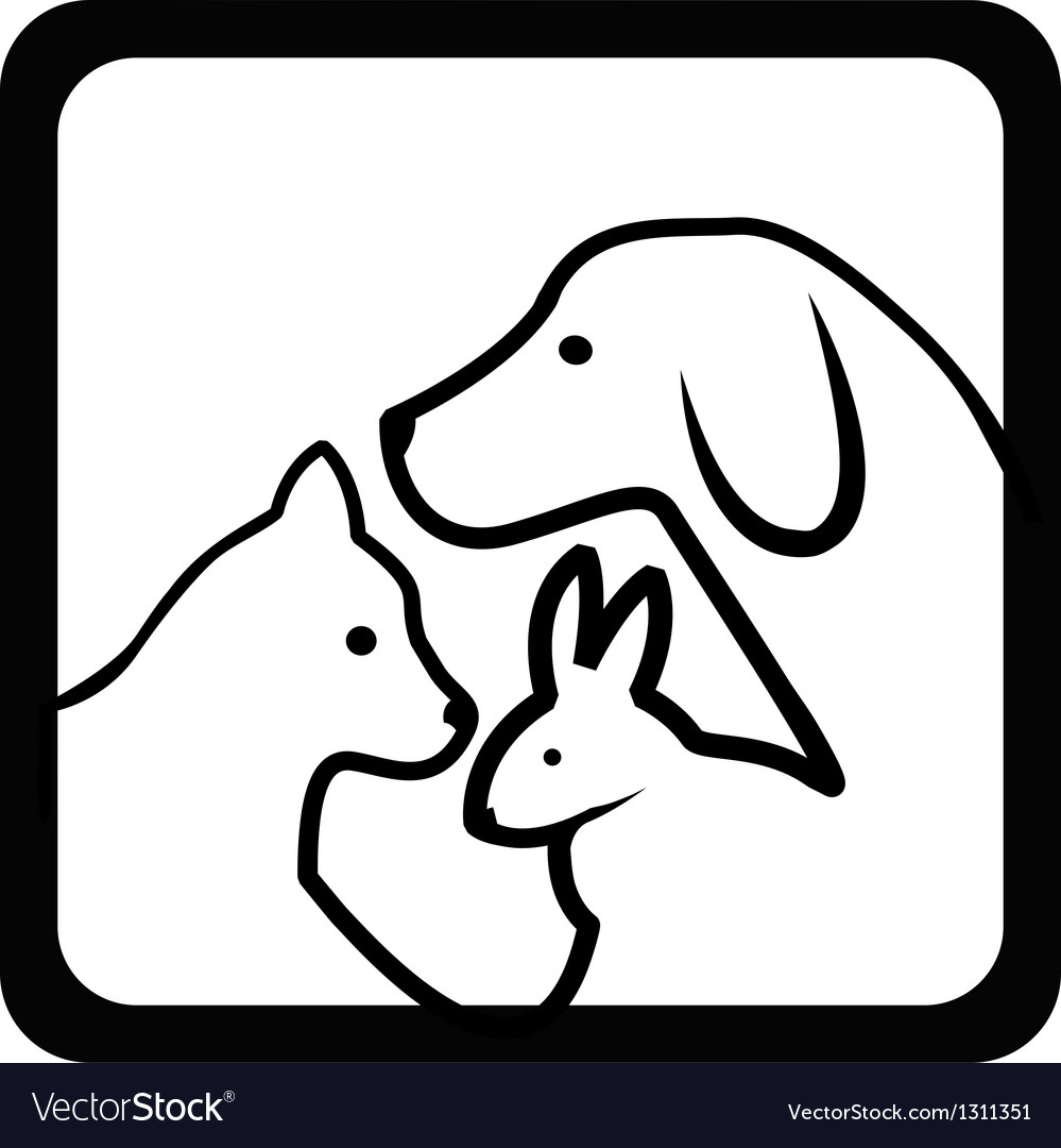 Cat dog and rabbit silhouettes vector image