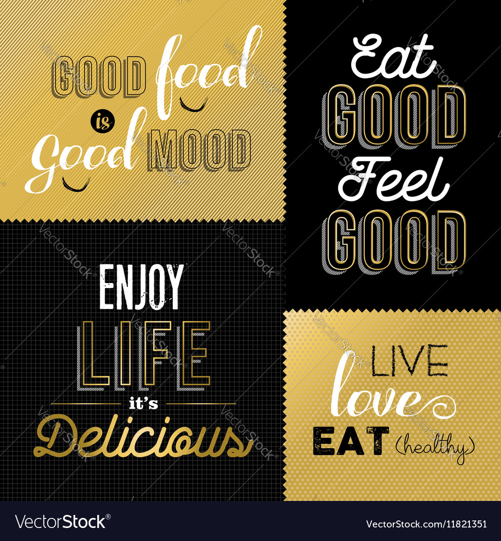 Live Gold Quotes Retro Style Food Quotes Set In Gold Color Vector Image