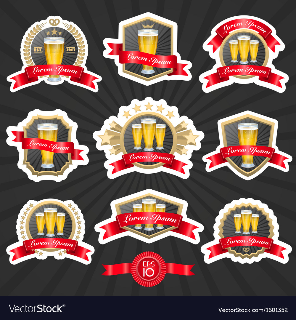 Beer labels set vector image