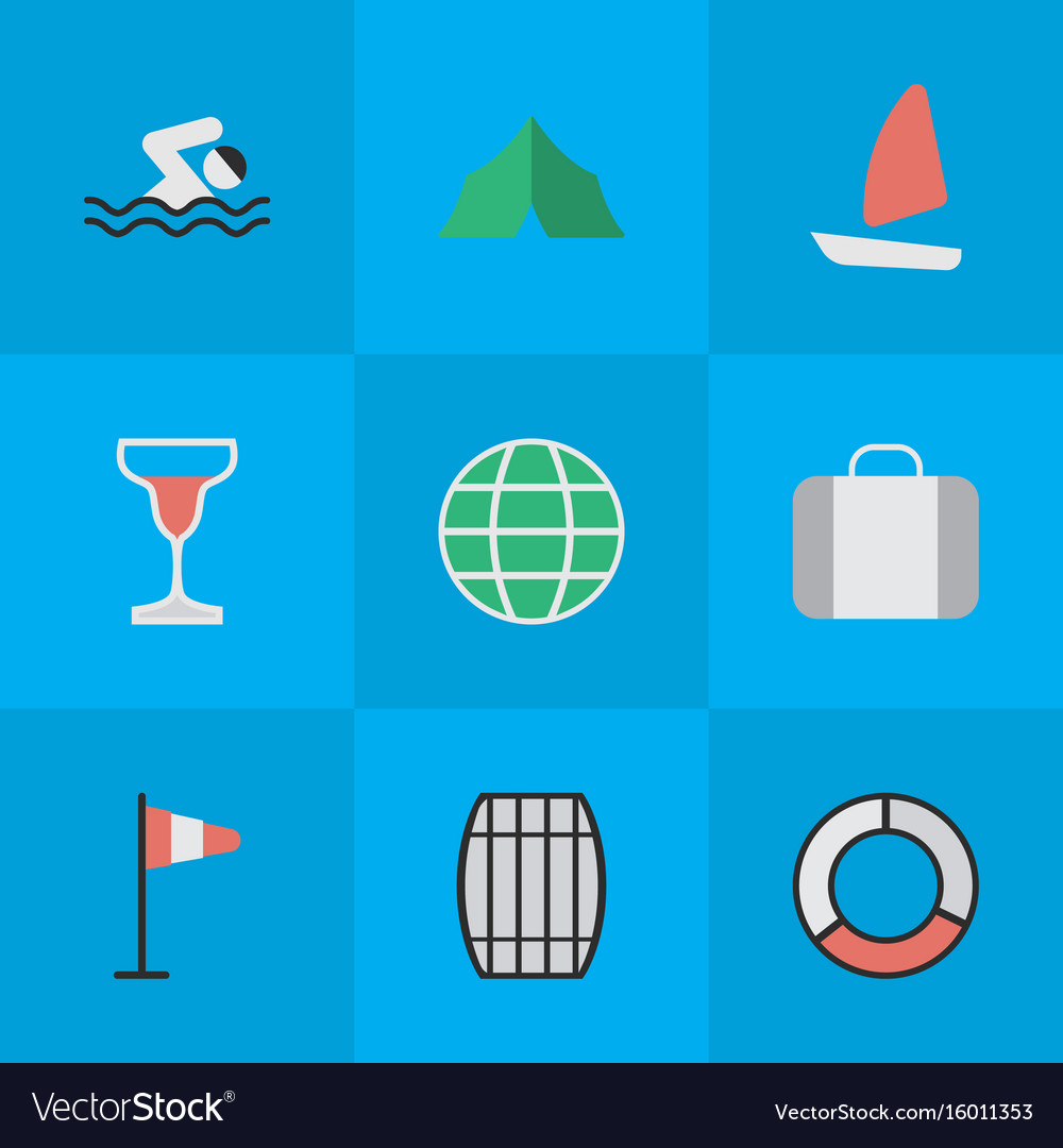 Set of simple relax icons elements flag world pool vector image