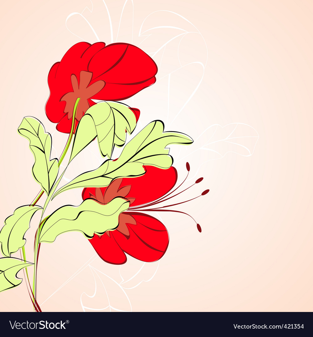 Floral card with red flowers vector image