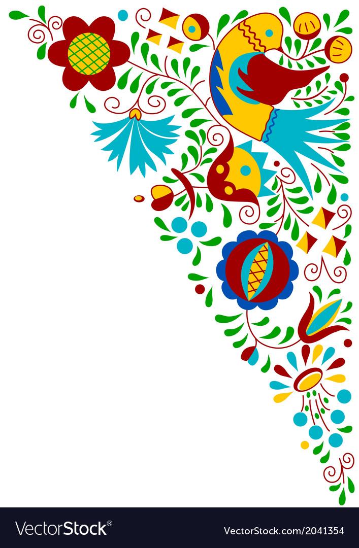 Moravian folk bird ornament vector image