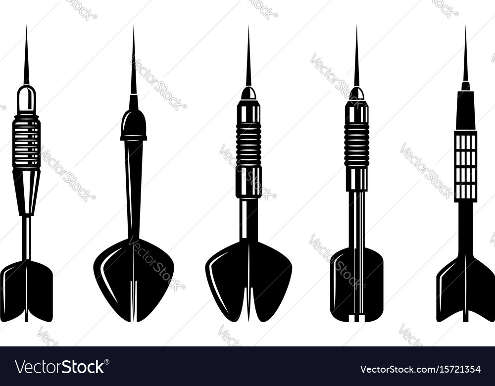 Set of darts on white background design elements vector image