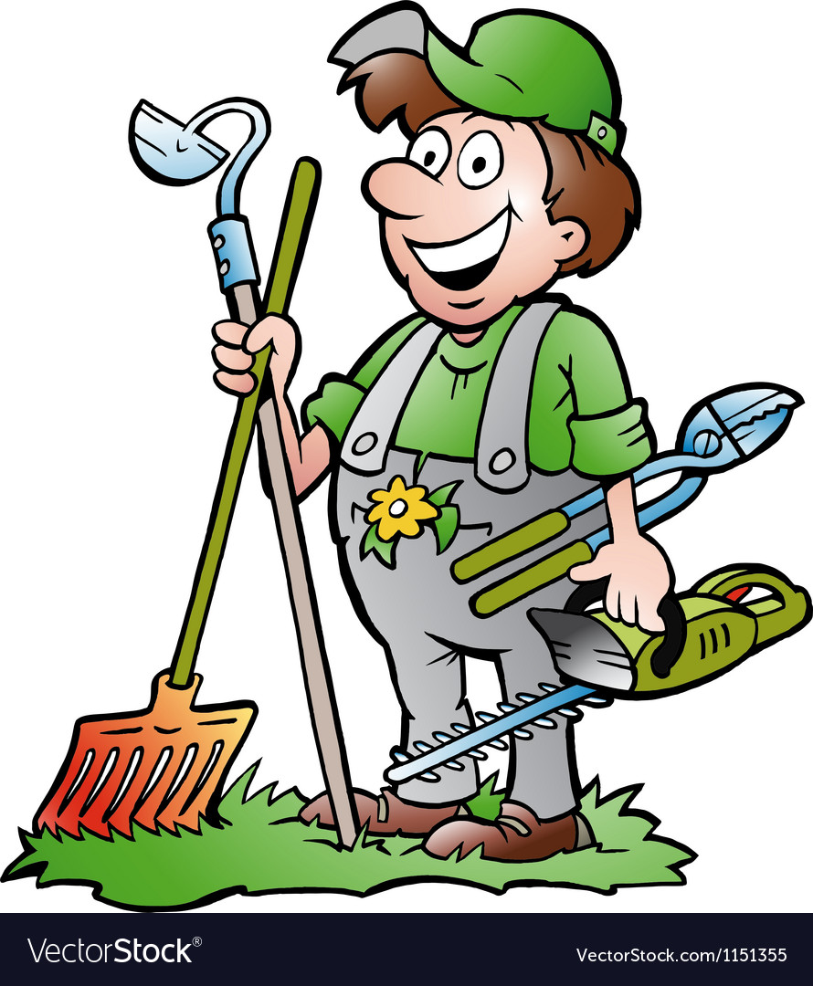 Hand-drawn of an happy Gardener standing with his vector image