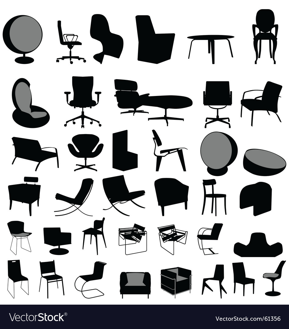 Chairs collection vector image