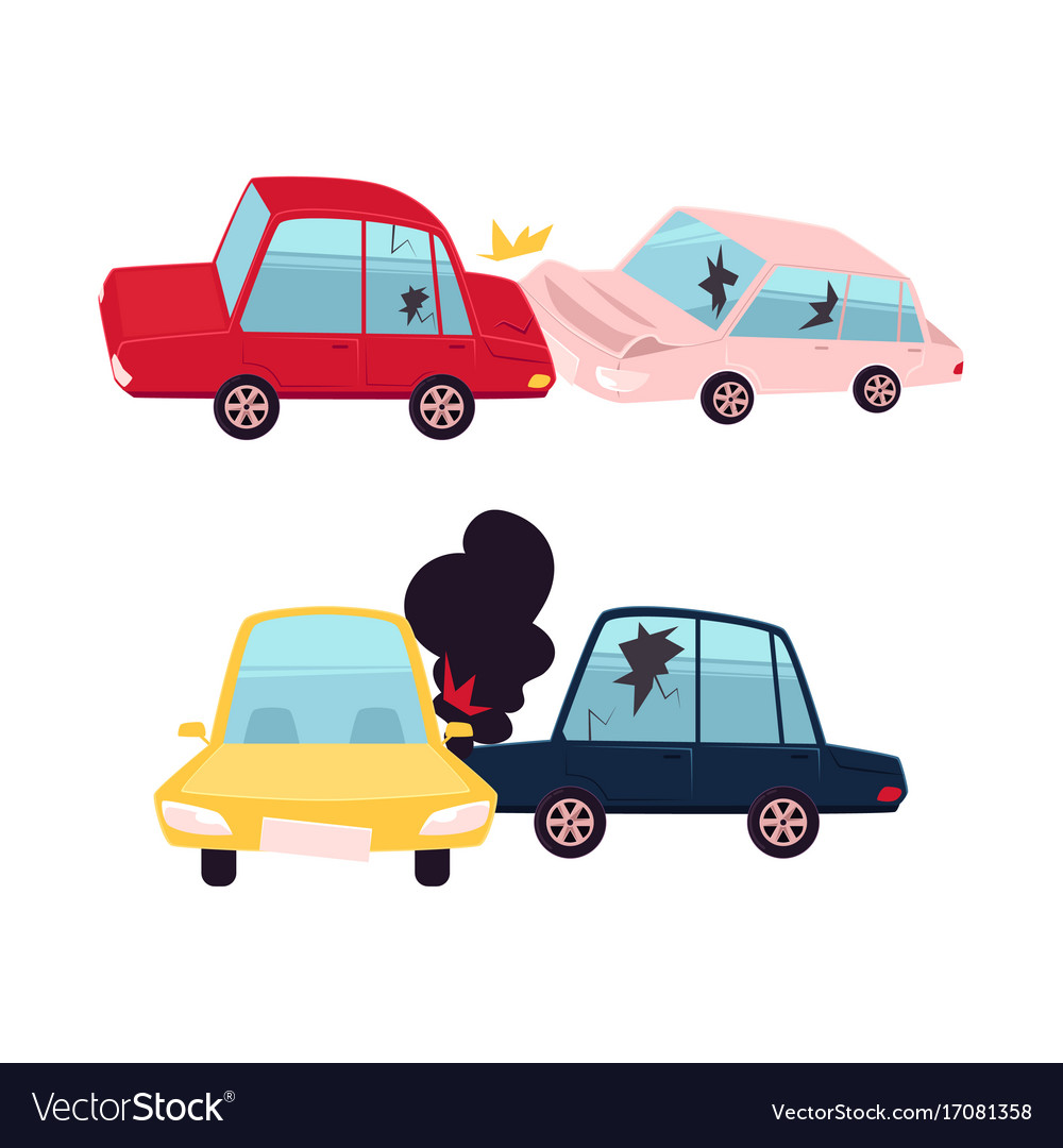 Flat cartoon car accident isolated Royalty Free Vector Image