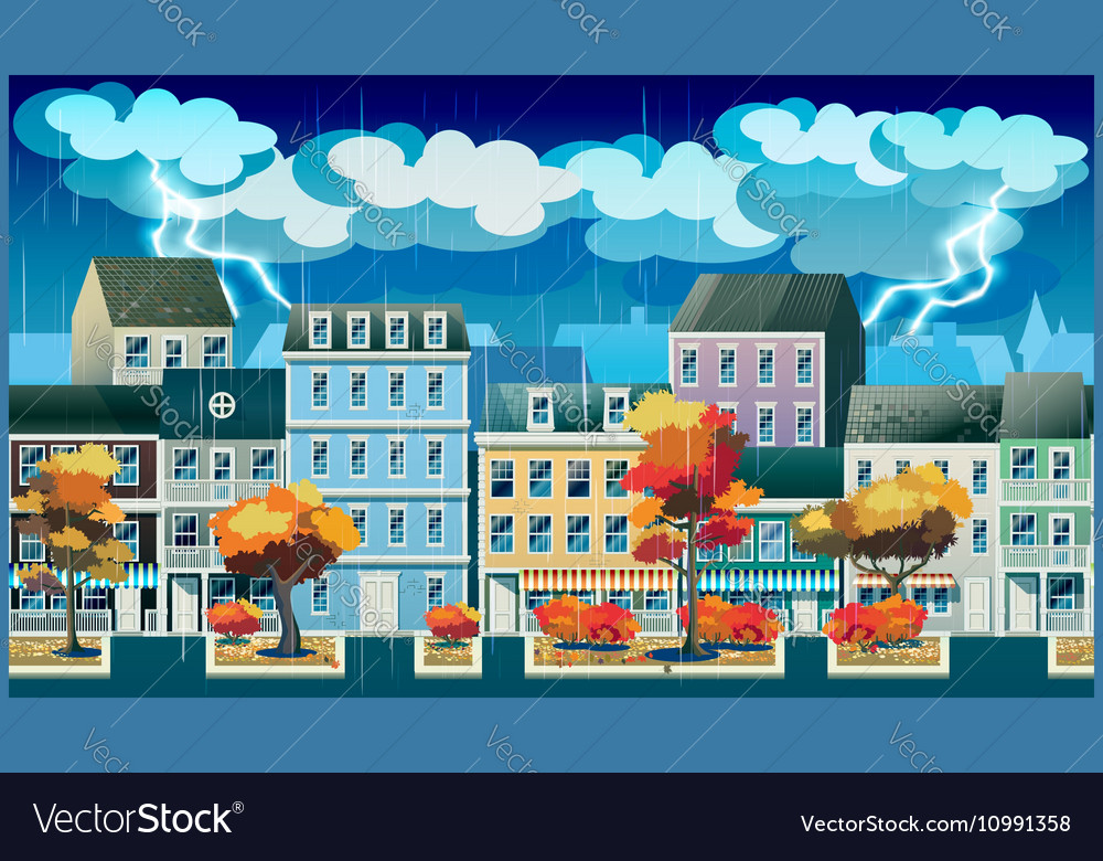 Rainy day in the old town vector image