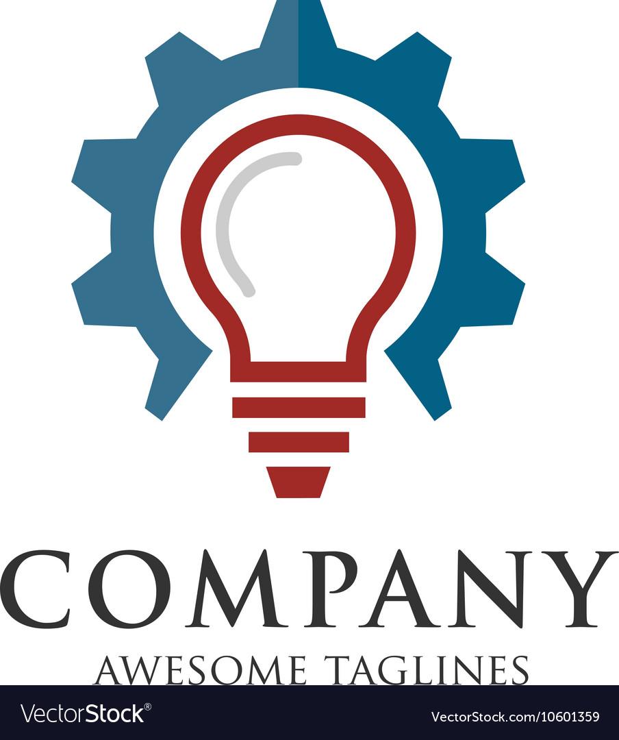Gear And Light Bulb Logo Vector Image