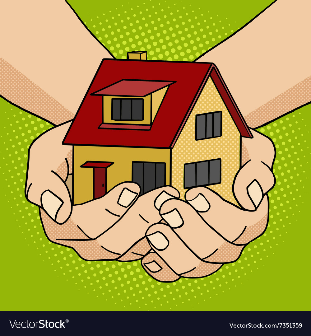 House in hands pop art style vector image
