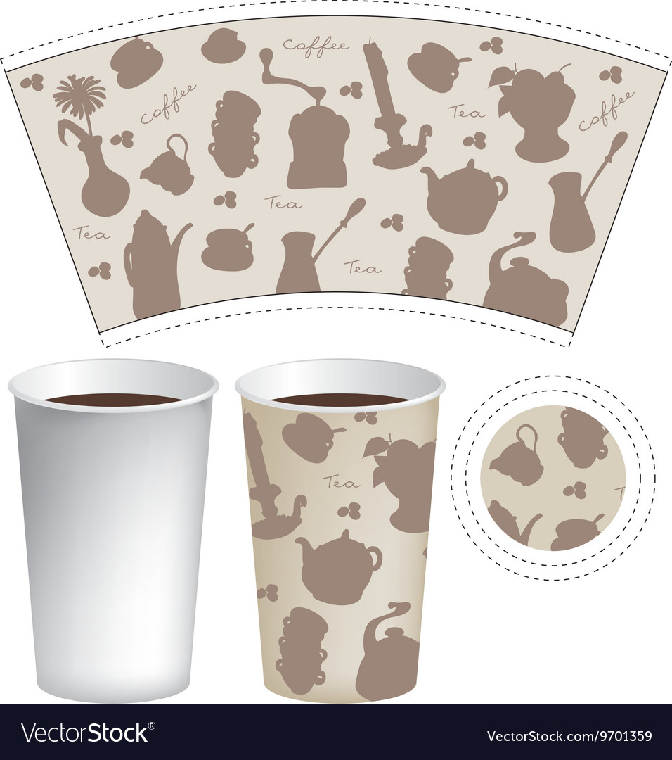 Template paper cup for coffee and tea vector image