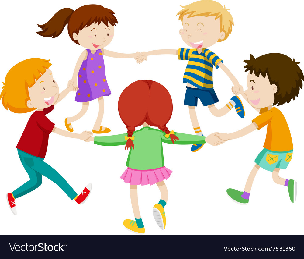Boys and girls holding hands in circle vector image