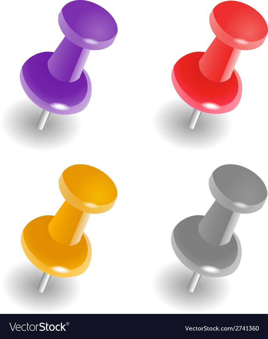 Push pins vector image