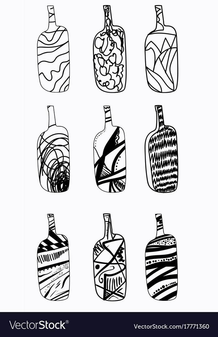 Set of design bottles hand drawn elements vector image