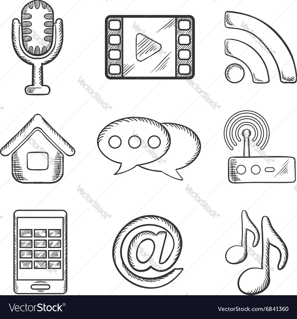 Telecommunication and multimedia sketched icons vector image