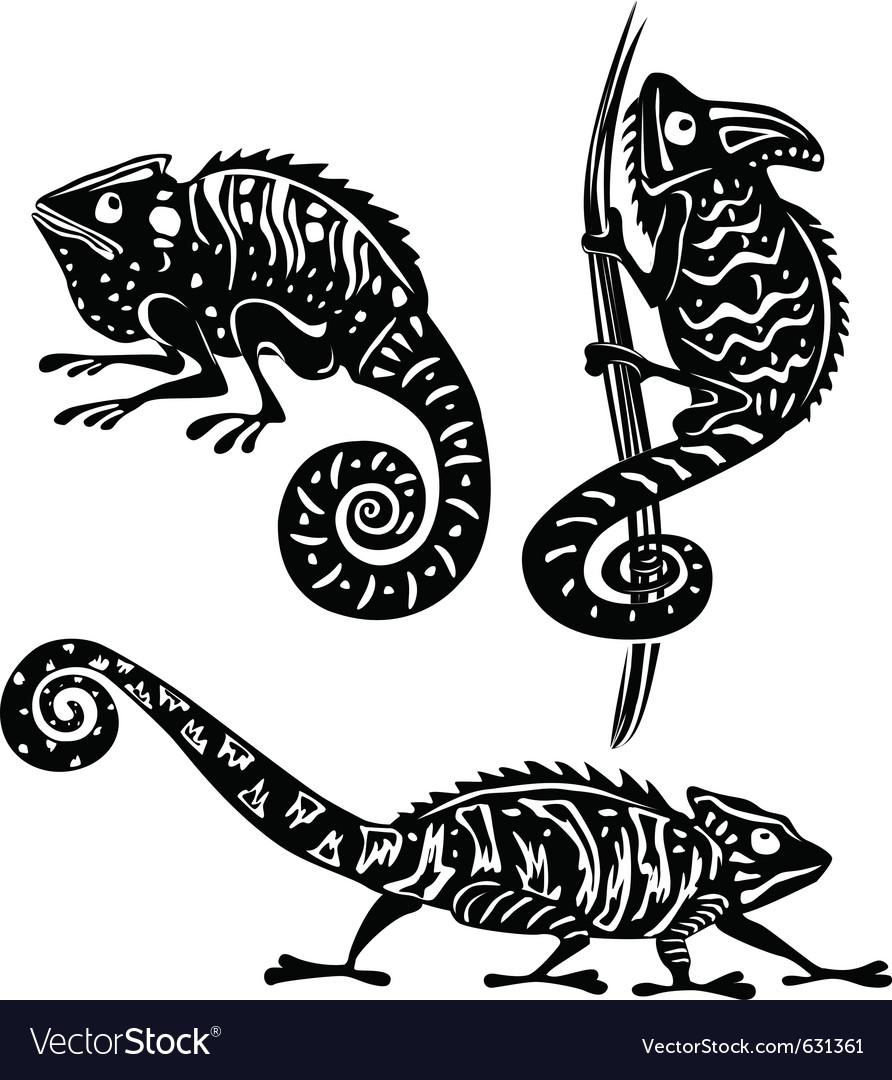 Black and white chameleon vector image