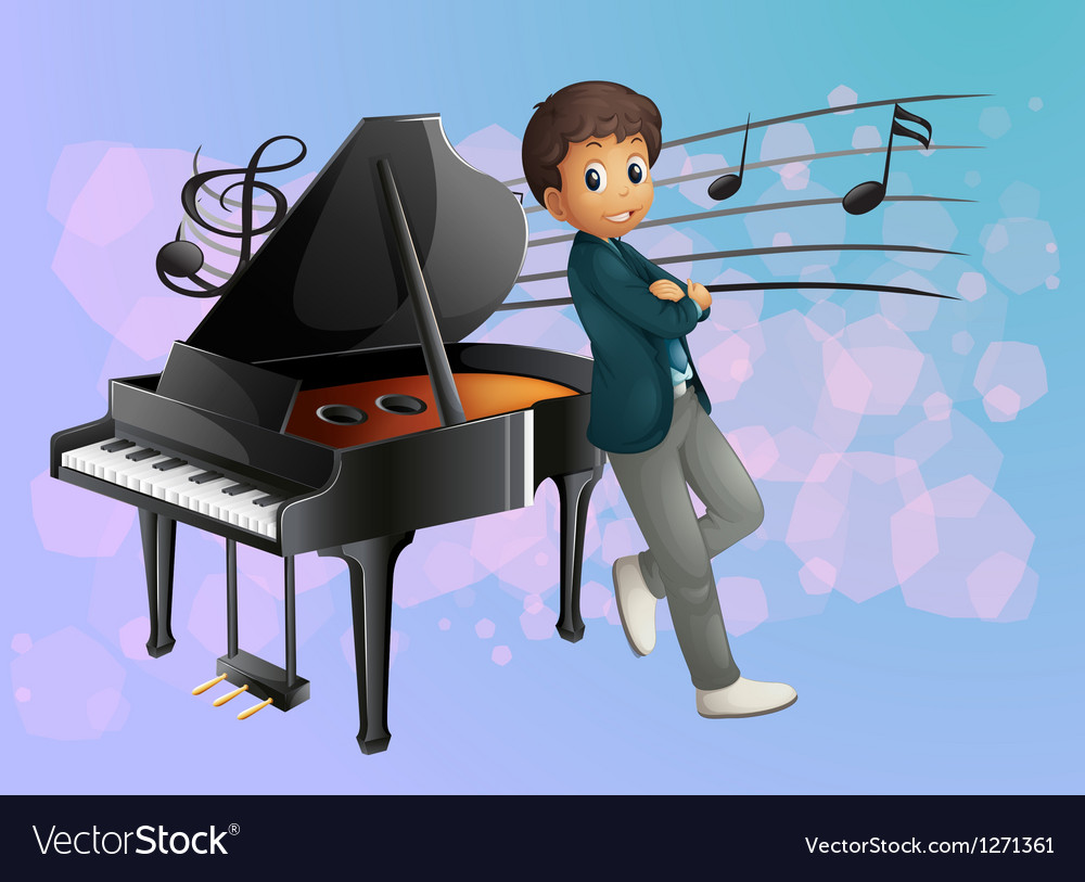 A piano at the back of the musician vector image
