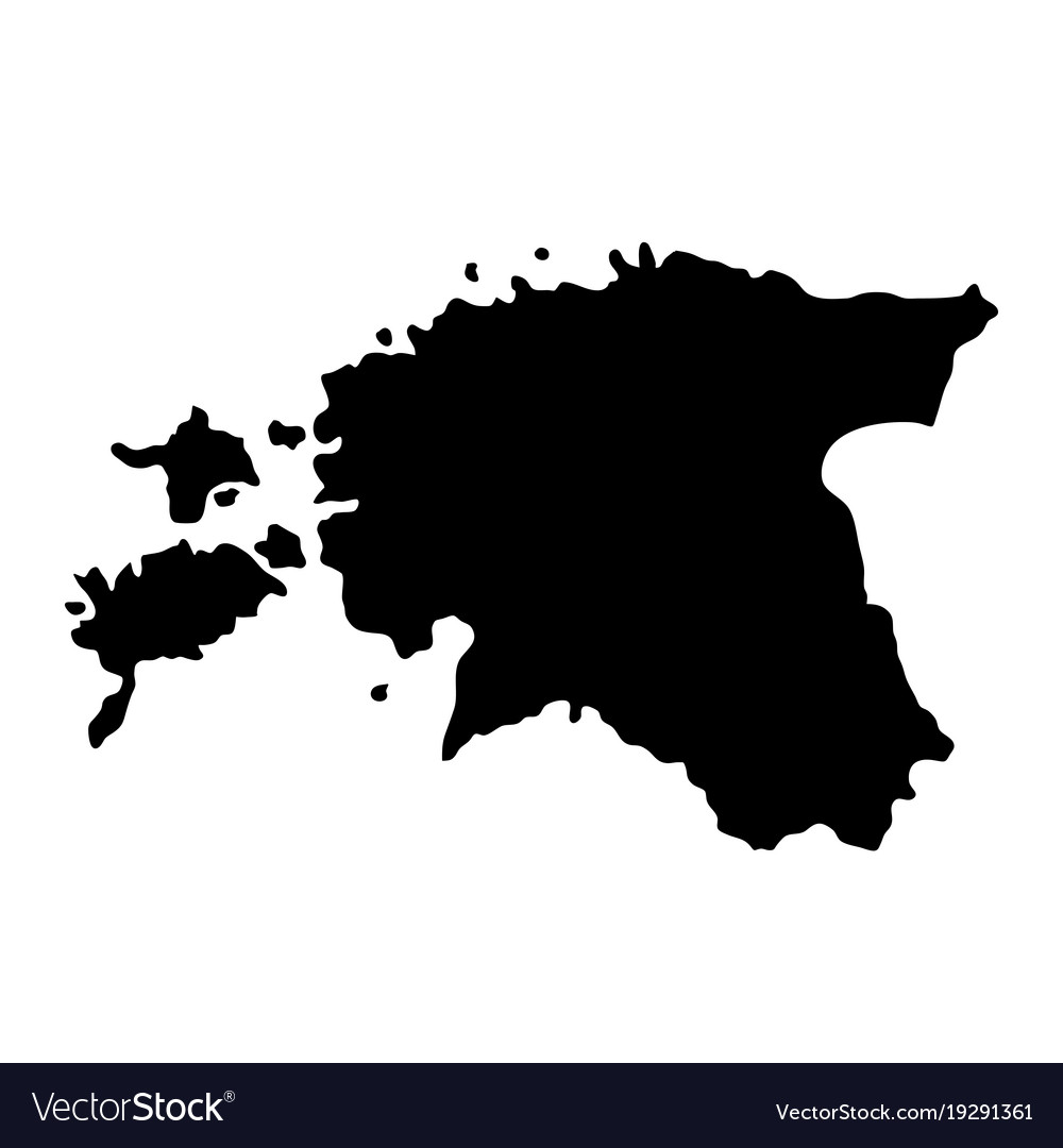 Black silhouette country borders map of estonia vector image gumiabroncs Choice Image