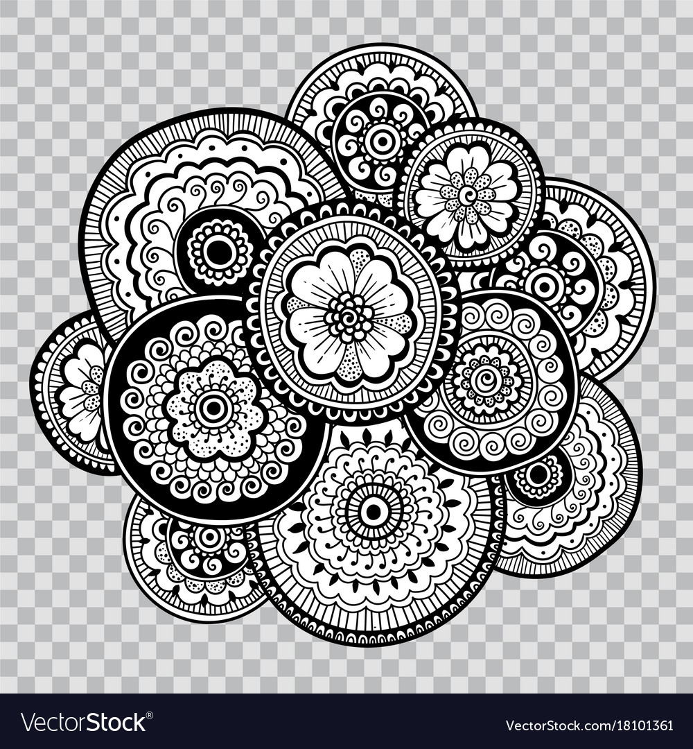 Flower indian tattoo artwork floral coloring vector image