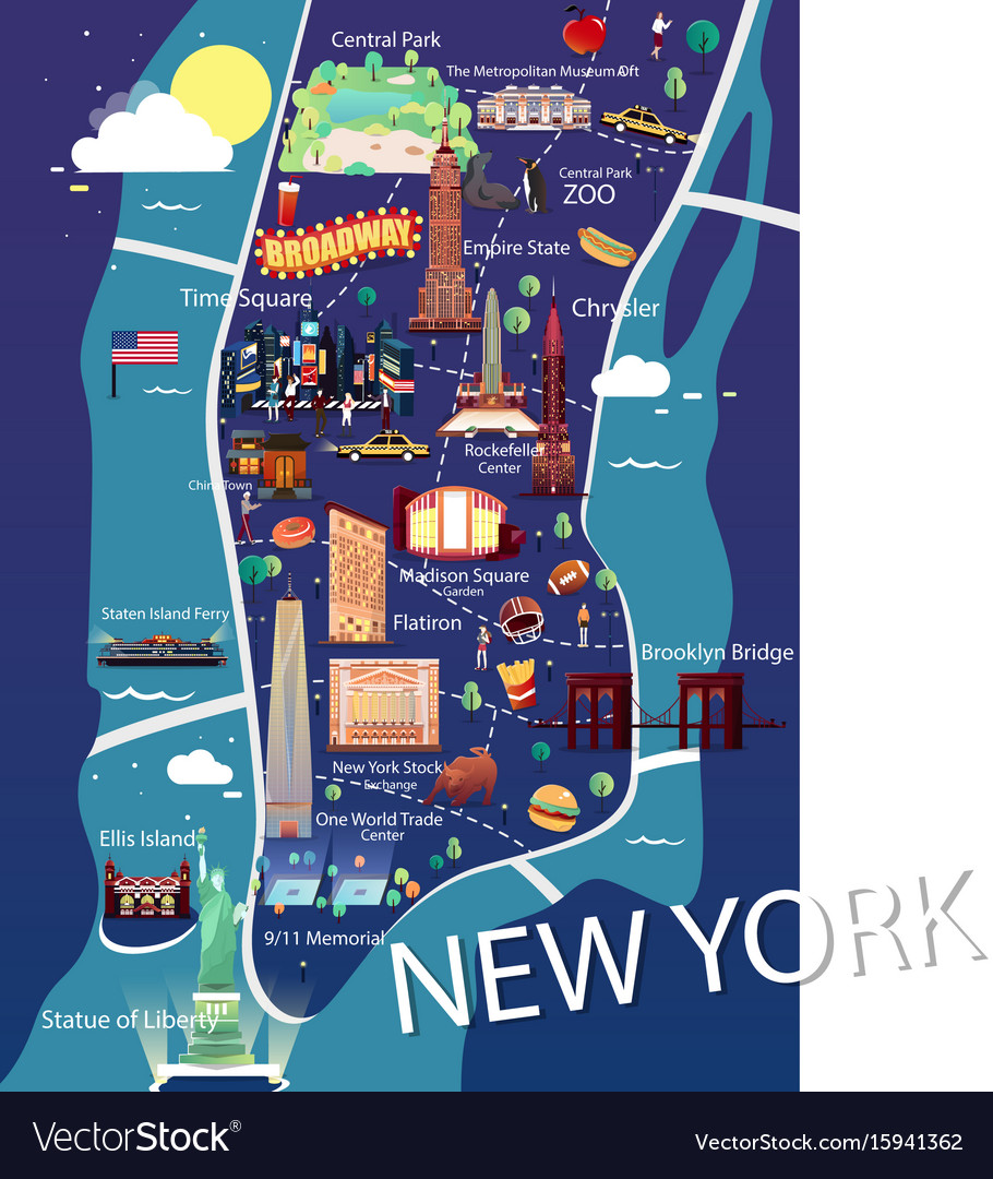 New york manhattan map Royalty Free Vector Image