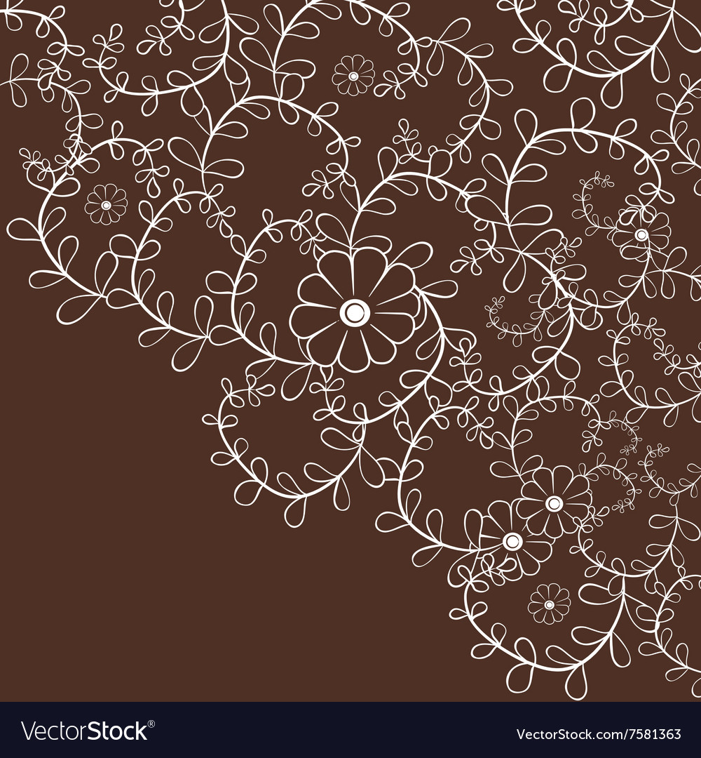 Decorative leaf curly background with flowers vector image