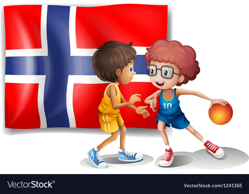 Basketball players in front of the flag of Norway vector image