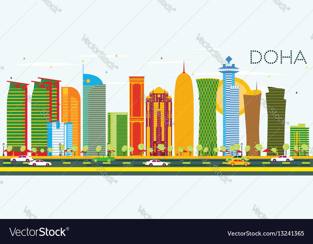 Doha skyline with color buildings and blue sky vector image