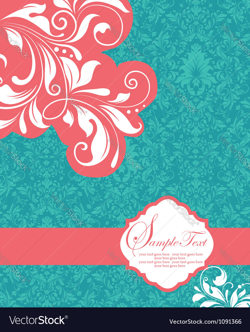 Floral invitation card with place for text vector image