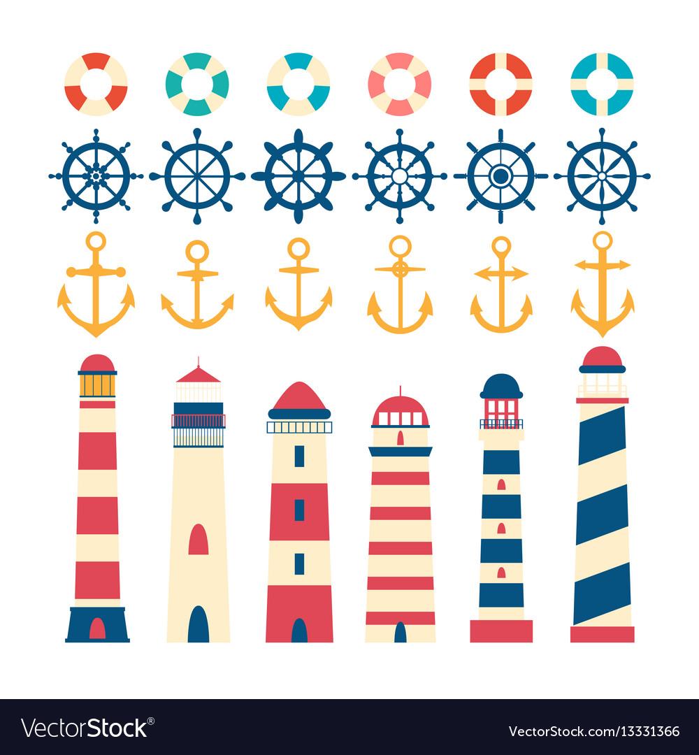 Nautical set steering wheel lighthouse anchor vector image