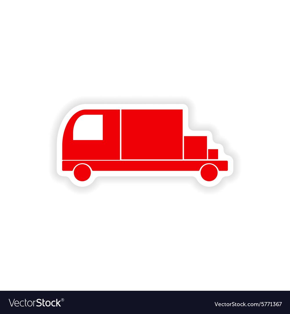 Icon sticker realistic design on paper truck