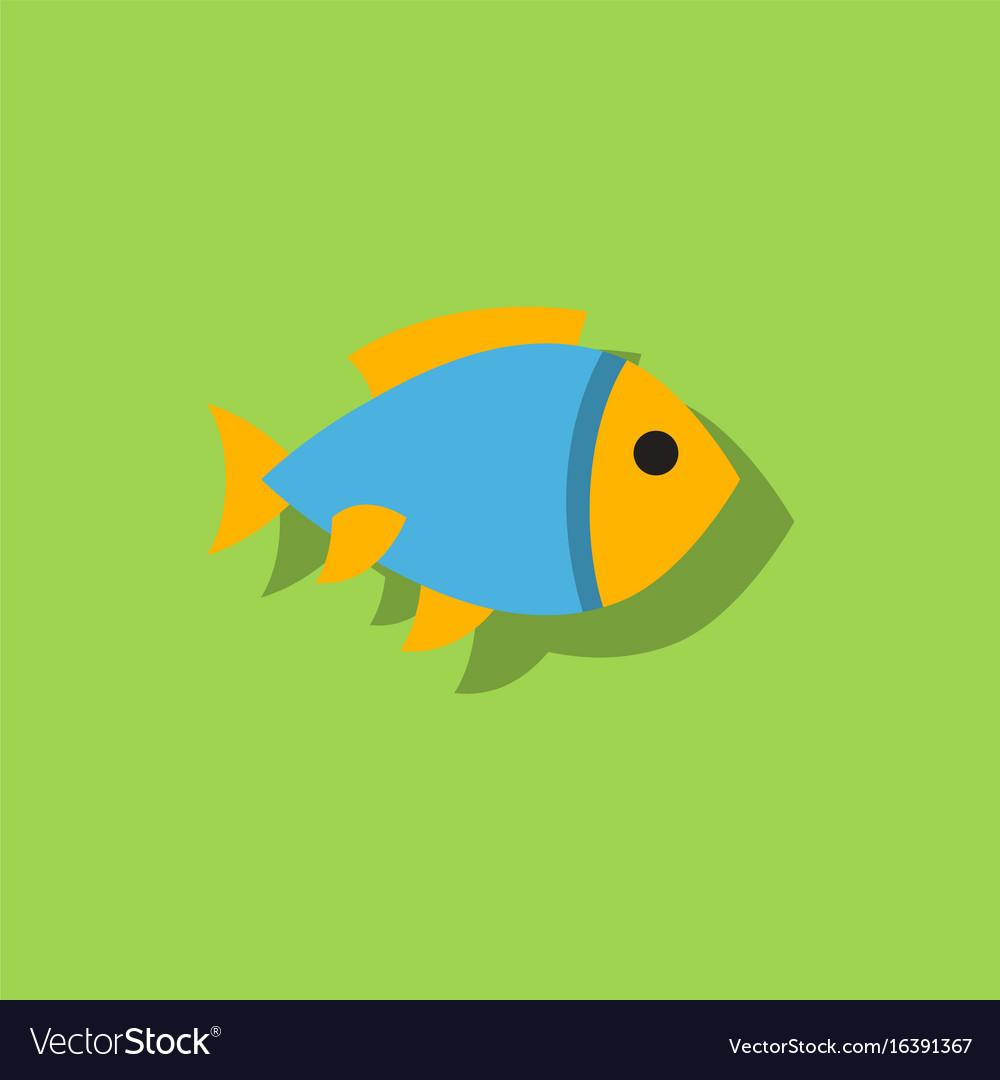 aquarium goldfish icon flat style