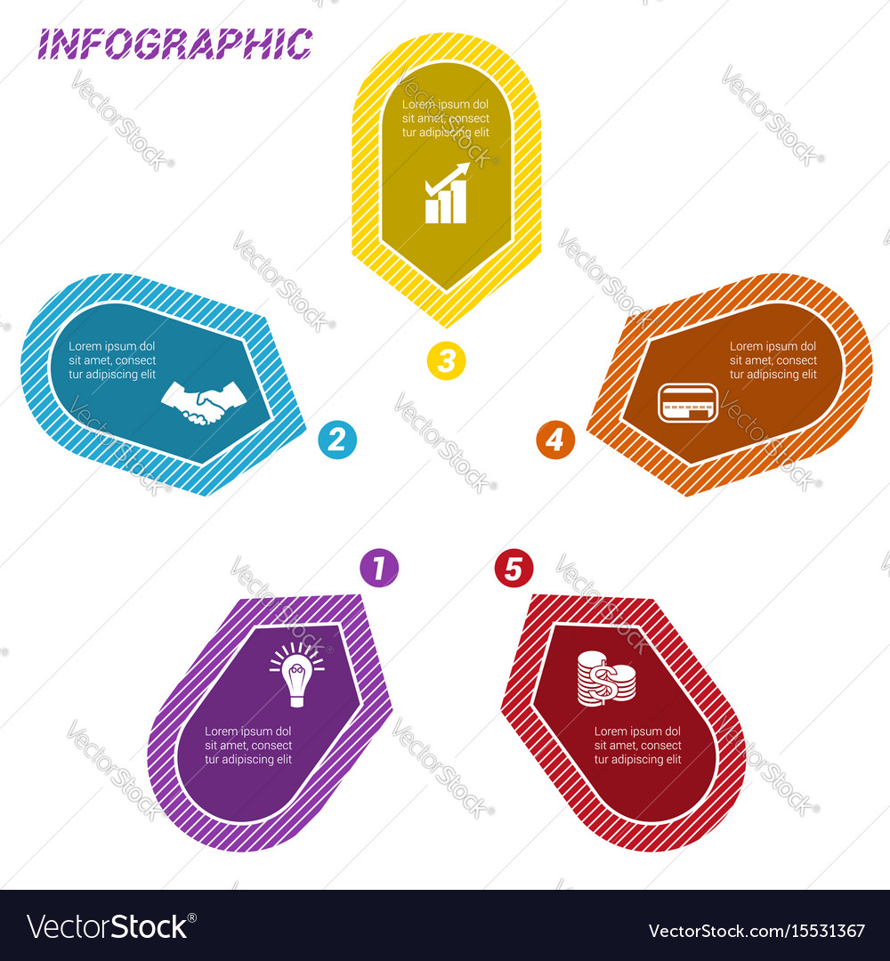Infographic points arranged in circle five vector image