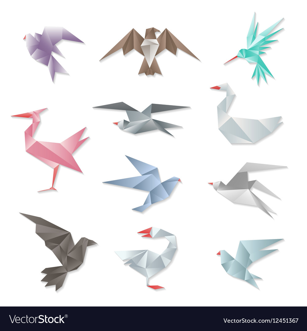 Origami bird set 3d abstract paper flying birds vector image