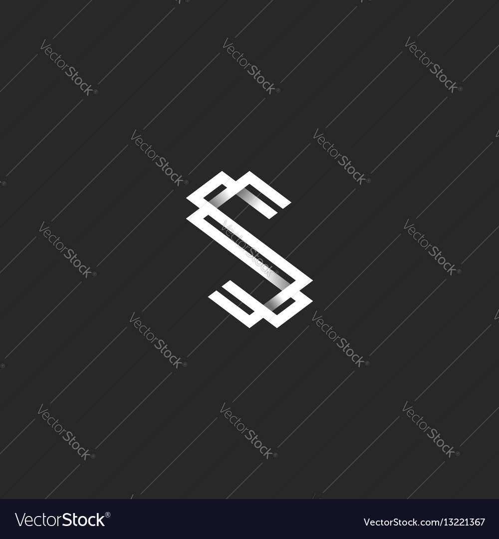 The letter s logo in the style of black and white vector image
