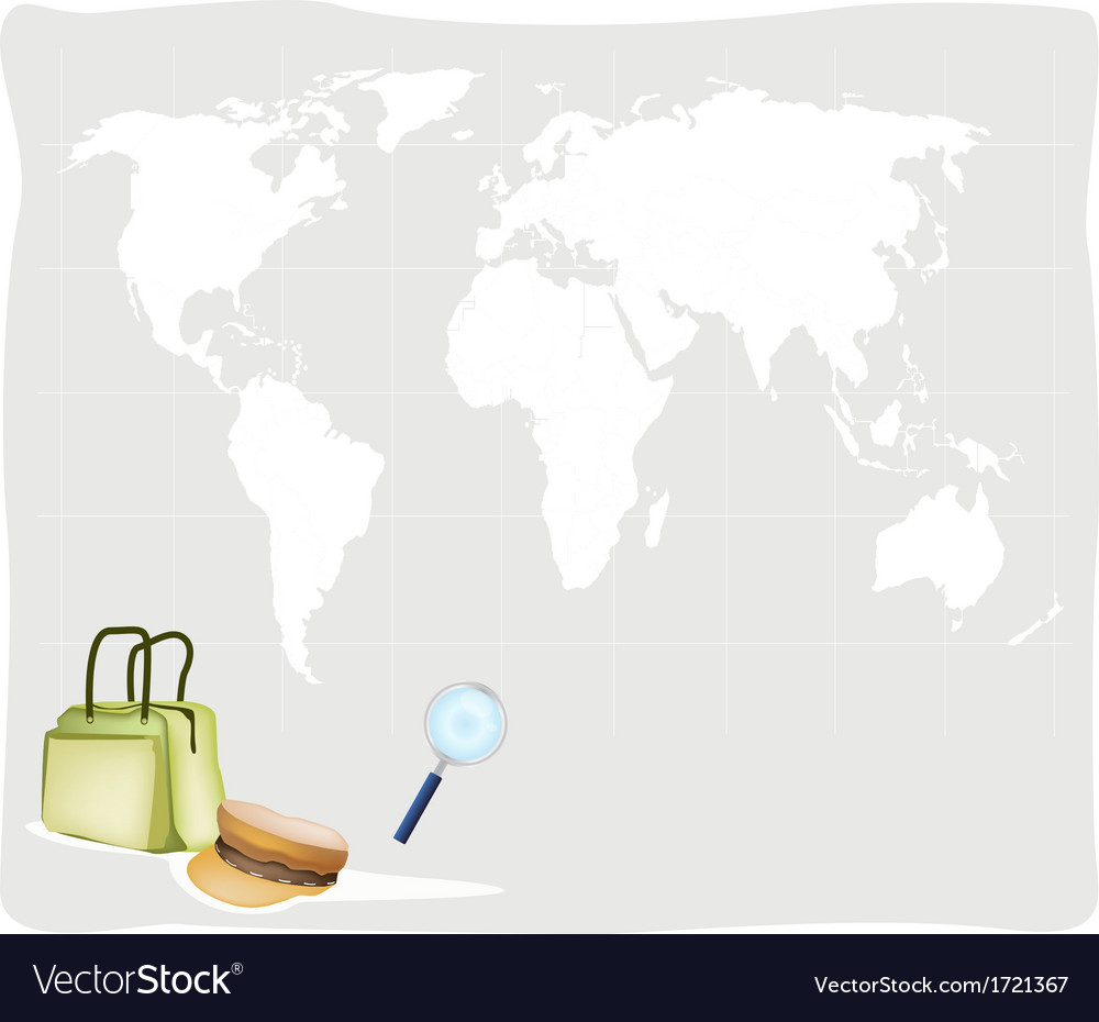 Travel suitcase and hat on world map background vector image gumiabroncs Image collections