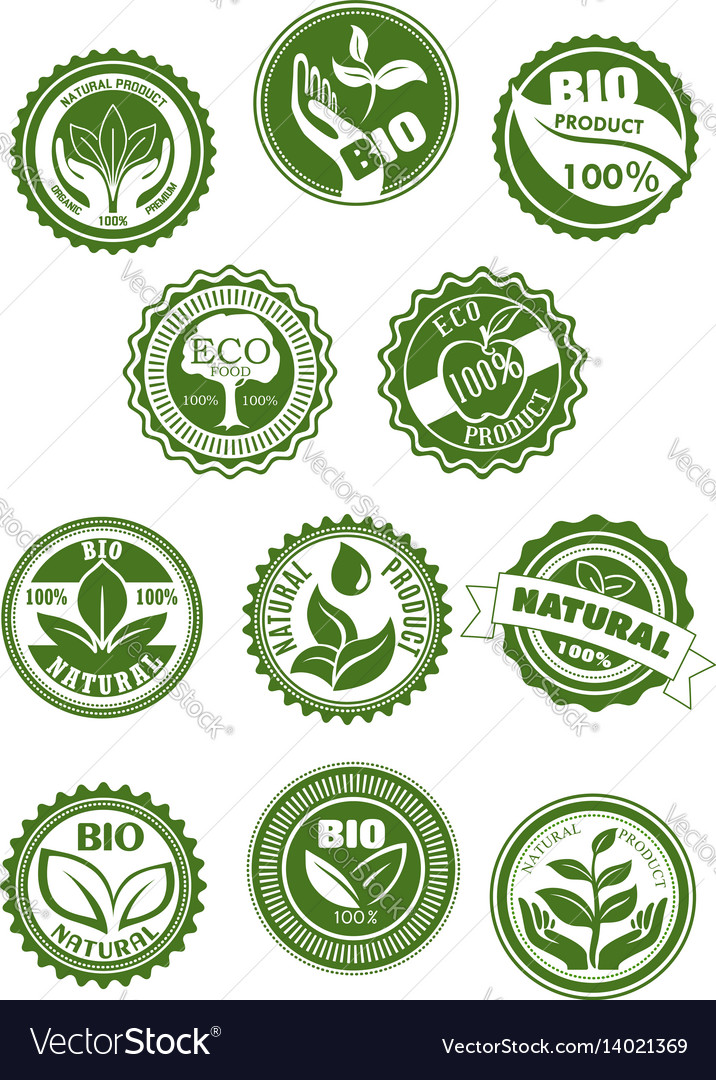 Eco green natural bio organic product symbol set vector image